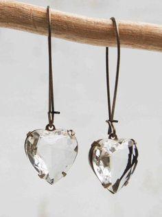 Crystal HEART EARRINGS Vintage Glass Jewel Rustic LOVE  Earrings Bridal Wedding
