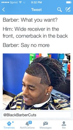 Accurate Lol my friends a corner back and his hair does look like the back part Funny Memes, Funny Quotes, Hilarious, Jokes, Barber Say No More, Lol, I Love To Laugh, Boy Hairstyles, Hair Humor