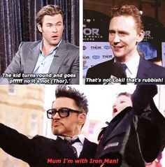 Chris Hemsworth, Tom Hiddleston, and Robert Downey, Jr.