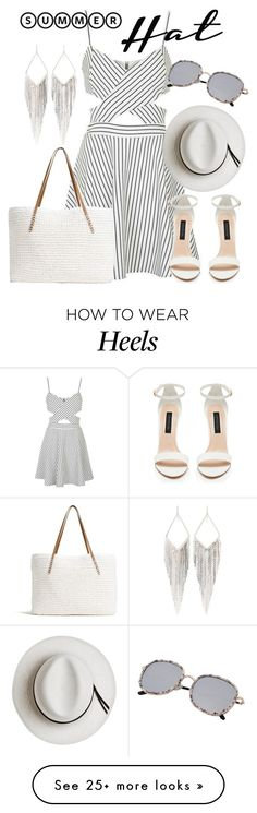 """Top It Off: Summer Hats"" by deedee-pekarik on Polyvore featuring Topshop, Forever New, G.H. Bass & Co., Calypso Private Label, Jules Smith, Summer, stripes, blackandwhite and summerhat"