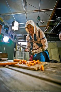 Anthony choppin' carrots for the assasin's creed :3
