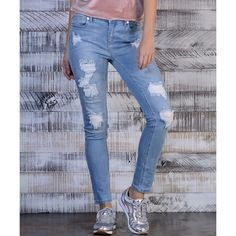 Seven7 Cartagena Distressed Skinny Jeans ($27) ❤ liked on Polyvore featuring jeans, distressing jeans, skinny jeans, distressed jeans, destroyed jeans and skinny fit jeans