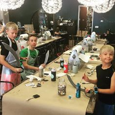 Ahoy! These dudes might be off school today but looks like they might be walking the plank soon! Awesome sword projects for these crafters! #goodfriday #noschool #comemakewithus #friday #friyay #pinspiration #pinspirationaz #phoenix #scottsdale #az #artstudio #thingstodo #easterweekend