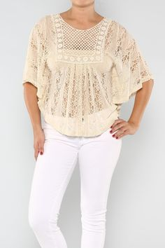 cream lace overlay crop top