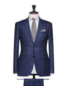 Dark Blue Flannel With A White Windowpane. Code 4660