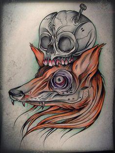Fox Head Tattoo Fox Head And Skull Tattoo