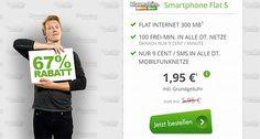 Handyvertrag im Telekom Netz für 1,95€ mit 300MB + 100 Freiminuten http://www.simdealz.de/telekom/klarmobil-smart-flat-300mb/