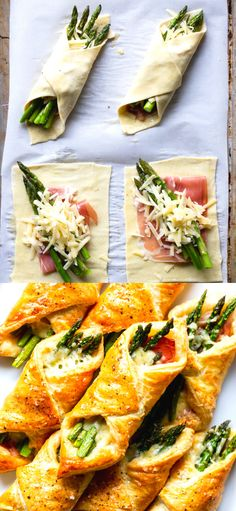 These Prosciutto Asparagus Puff Pastry Bundles are an easy and elegant appetizer or brunch idea! These Prosciutto Asparagus Puff Pastry Bundles are an easy and elegant appetizer or brunch idea! Perfect for Easter, Mother's Day or any other spring brunch! Gluten Free Puff Pastry, Puff Pastry Recipes, Thanksgiving Appetizers, Thanksgiving Recipes, Falafel Vegan, Quick Recipes, Cooking Recipes, Amish Recipes, Yummy Recipes