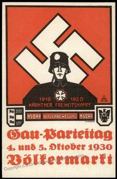 Pre 3rd Reich 1930 NSDAP Gau Partetag Volekermarkt Kaernten Propaganda Card