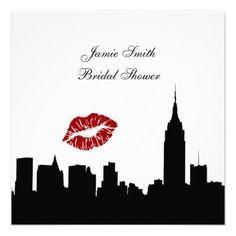 NYC Skyline Silhouette, Kiss ESB Bridal Shower SQ Personalized Invitation