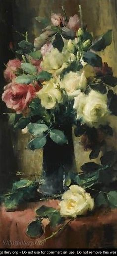 Roses In A Vase - Frans Mortelmans - WikiGallery.org, the largest ...