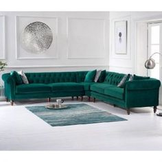 Provide your living room with a dramatic centrepiece with the Livi Green Velvet Corner Sofa, a generously-sized choice that is capable of accommodating as many as 4 people over the length of two sofas. Sofa Furniture, Velvet Corner Sofa, Living Room Sets, Living Room Green, Living Room Sofa, Pallet Furniture Living Room, Corner Sofa Living Room, Couches Living Room, Living Room Sofa Design