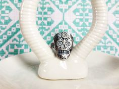 Sugar Skull Ring in Sterling Silver Copper or by sprout1world