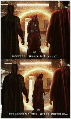 When deadpool accidentally entered in the wrong universe Avengers Humor, Funny Marvel Memes, Marvel Jokes, Dc Memes, Marvel Dc Comics, Marvel Heroes, Funny Comics, Marvel Avengers, Deadpool Kawaii