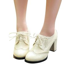 89eee7cad1d50 Patent Leather Women Oxfords British New Spring Square High Heel Casual Lace -Up Ladies Brogue Shoes