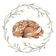Nursery Woodland Animals Print Watercolor, set of fox, r Art And Illustration, Watercolor Illustration, Watercolor Art, Flower Wreath Illustration, Animal Drawings, Cute Drawings, Drawing Animals, Art Mignon, Watercolor Animals