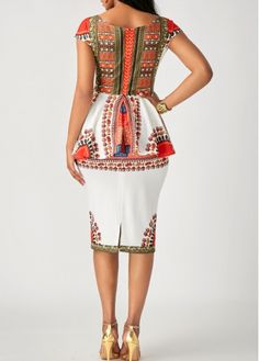 Printed Short Sleeve Peplum Waist Sheath Dress