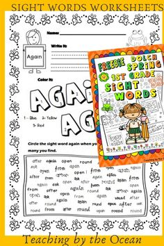 Sight Word Worksheets, Sight Word Activities, First Grade Sight Words, Math Lessons, Teacher Resources, Improve Yourself, Students, Knowledge, Ocean