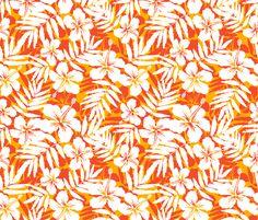 Orange tropic flowers fabric by art_of_sun on Spoonflower - custom fabric