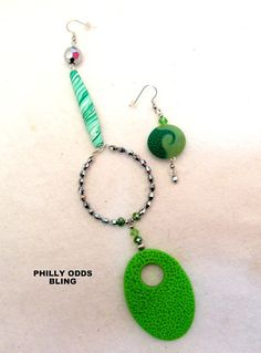 Multi listed GREEN Philly Odds asymmetrical earrings by TNETTE3, $25.00