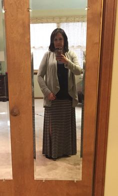 Maxi skirt and gray cardigan from my first Stitch Fix. Love it!