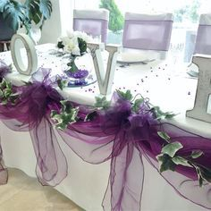 Inspiration Gallery for Purple Wedding Decor Purple Table Decorations, Wedding Table Centerpieces, Reception Decorations, Purple Table Settings, Buffet Wedding, Bridal Table, Tall Centerpiece, Wedding Receptions, Deco Violet