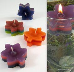 4 Schwimmkerzen Bäumchen bunt DW 336 von Kreatiwita - Kerzenkunst auf DaWanda.com