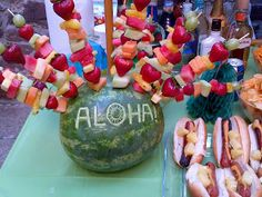 Love the Melon presentation & the pineapple on the hot dogs!