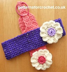 Free baby crochet pattern for flowered headband http://www.patternsforcrochet.co.uk/flowered-headband-usa.html #patternsforcrochet
