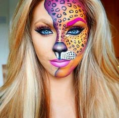Halloween-Make-up-Idee für Frauen: Eine exklusive Auswahl von 99 Fotos auf Inst Cheetah Makeup, Animal Makeup, Cool Halloween Makeup, Halloween Looks, Scary Halloween, Halloween Ideas, Leopard Halloween Makeup, Tiger Halloween, Halloween Hair