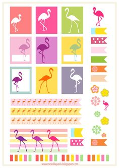 FREE printable #flamingo planner stickers