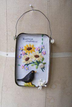 Artwork in a small vintage tin Blackbird singing by hensteeth, £35.00