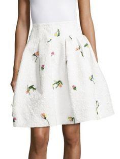 OSCAR DE LA RENTA Textured Flared Skirt. #oscardelarenta #cloth #skirt