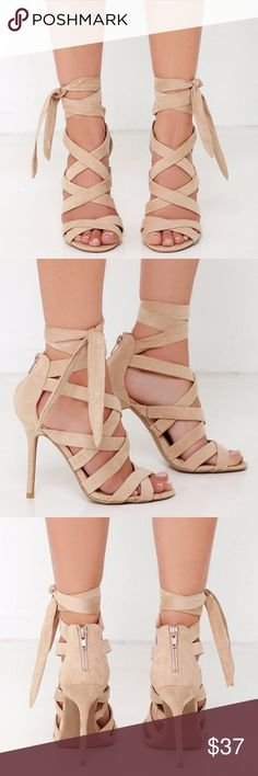 """💚Strappy caged suede heels size 6.5 Sexy and versatile nude colored caged heels in size 6.5. Vegan suede straps cross over a peep toe, and meet a sturdy heel cup with 2.5"""" zipper. More straps wrap and tie around the ankle for an exciting finish! 4.5"""" wrapped stiletto heel, cushioned insole, non skid rubber sole. Runs true to size. Brand new in box. No PayPal, no trades. Shoes Heels"""