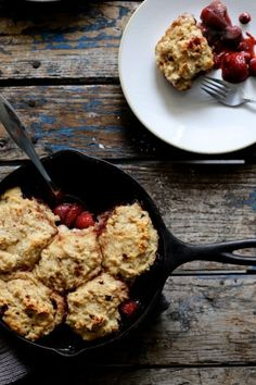 Roasted Strawberry and Dumpling Skillet