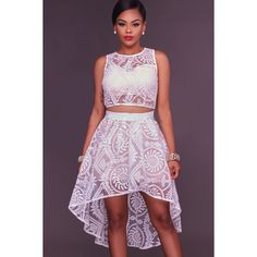 White Mesh Lace Embroidered High Low Sexy Two Piece Party Dress ($30) ❤ liked on Polyvore featuring dresses, white, white hi low dress, sexy cocktail dresses, sexy white dresses, white lace dress and white cocktail dress