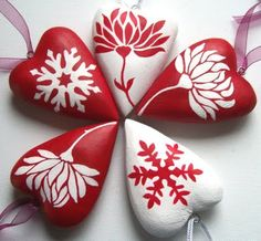 Hand painted wooden hearts.
