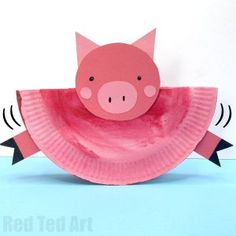 Easy Rocking Paper Plate Pig for Kids. A great Paper Plate Pig craft for preschoolers for the Year of the Pig or Farmyward Craft session. 2 ways! Animal Crafts For Kids, Easy Crafts For Kids, Toddler Crafts, Projects For Kids, Art For Kids, Art Projects, Pig Crafts, Farm Crafts, Preschool Crafts
