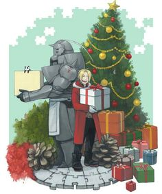 Merry Christmas, Edward, Alphonse, Elric brothers, Christmas tree, presents; Fullmetal Alchemist