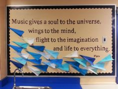 I was inspired by this quote to make paper airplanes.  Love the way this bulletin board idea turned out!