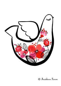 Mechanics of a Dove Print by Madeline Stamer Little Circus Design Feeling Chirpy! Lombok, Little Birdie, Bird Illustration, Bird Art, Painting Inspiration, Painting & Drawing, Design Art, Pop Art, Feelings