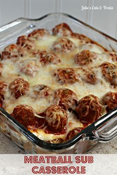 Meatball Sub Casserole ~ Hearty, classic casserole perfect for those days when you just need comfort food! This is a hearty, yummy casserole perfect for those cool, crisp days that Low Calorie Recipes, Meat Recipes, Dinner Recipes, Recipies, Barbecue Recipes, Beef Dishes, Food Dishes, Main Dishes, Casserole Dishes