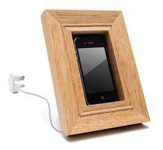wood iphone frame dock
