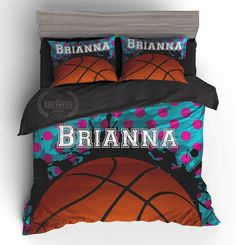 Personalized Bedding Set Girls Basketball Comforter Or Duvet Cover Bedding Set Monogram Toddler Twin Twin Xl Full Queen King