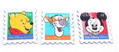 """Lot of 3 Walt Disney World Mickey Mouse Tigger Pooh Magnets Stamp Shape 2 x 2.5"""""""