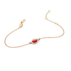 NEW IN: Red Coral Eye Bracelet with Diamonds. NOVEDAD: Pulsera...