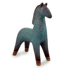 """NOVICA Bright Blue Earthtone Ceramic Pony Sculpture, Lanna Horse' Package Height of the Product: 10.0"""" Package Length of the Product: 11.0"""" Pacakge Width of the Product: 7.0"""" Country of Origin: Thailand Pottery Animals, Ceramic Animals, Clay Animals, Horse Sculpture, Animal Sculptures, Ceramic Sculptures, Sculpture Ideas, Sculpture Clay, Ceramic Pottery"""