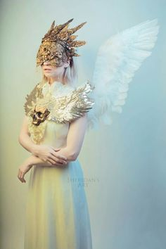 """""""Lightbringer""""  Model - My Fragility Halo/Mask & Chestpiece - Hysteria Machine Wings - Court of the Fey Photography - Sheridan's Art"""