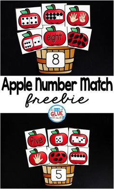 One of my favorite ways to do this is by incorporating themed centers into the classroom, like this Apple Number Match math center. My students are always so excited for their centers that sometimes I wonder if they even know that they are doing work and Kindergarten Math Activities, Preschool Math, Math Classroom, Math Resources, Numbers Kindergarten, Apple Theme Classroom, Seasons Kindergarten, Kindergarten Apples, Counting Activities