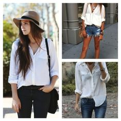 The perfect spring look in my opinion! White button down with denim. You can't go wrong!  (images via: here, here, & here.)